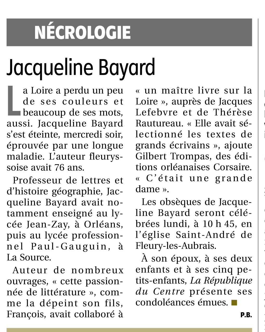 Disparition de Jacqueline Bayard